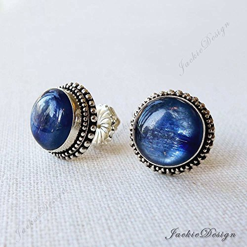 12mm Round Blue Kyanite Bali Ornate Sterling Silver Post Earrings JD163P