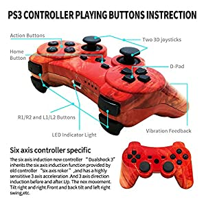 CHENGDAO PS3 Controller 2 Pack Wireless 6-axis Dual Shock Gaming Controller for Playstation 3 with Charging Cord (PS3 Controller 2Pack,Graffiti + Red Canyon) (Color: Graffiti + Red Canyon)