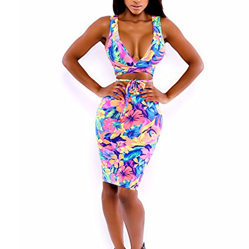 ROPALIA Women Bodycon Floral Illusion Bandage Two Piece Crop Top and Skirt Set
