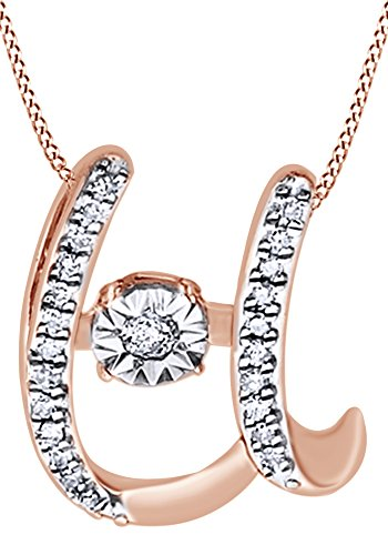 White Natural Diamond U Initial Pendant Necklace In 14K Rose Gold Over Sterling Silver (0.06 Ct) 0.06 Ct Initial Pendant
