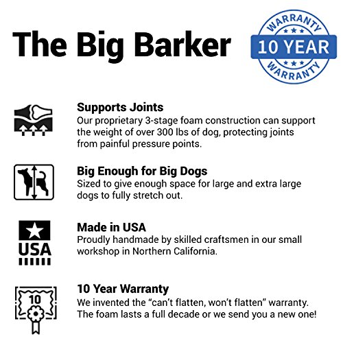 Big Barker 7'' Pillow Top Orthopedic Dog Bed - Large Size - 48 X 30 X 7 - Chocolate - For Large and Extra Large Breed Dogs (Sleek Edition) by Big Barker (Image #7)