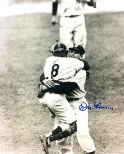 Don Larsen Autographed/ Signed Game Photo Celebration of 1956 World Series Perfect Game w/ Yogi Berra