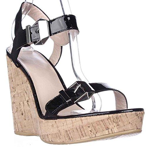 Stuart Weitzman TwoMuch Cork Wedge Sandals - Black Patent, 10 M US