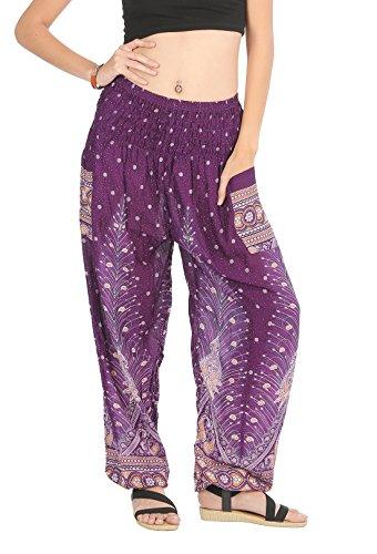 CandyHusky Elastic Waist Loose Fit Baggy Gypsy Hippie Boho Yoga Harem Pants (Peacock Purple) (Pants Harem Purple)