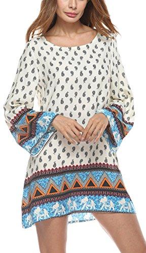 Risesun+Women%27s+Bohemian+Vintage+Printed+Ethnic+Style+Loose+Casual+Tunic+Dress%28XL%2CBeige-June%29