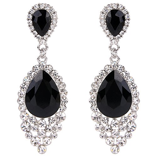 - BriLove Wedding Bridal Dangle Earrings for Women Crystal Teardrop Cluster Beads Chandelier Earrings Black Silver-Tone