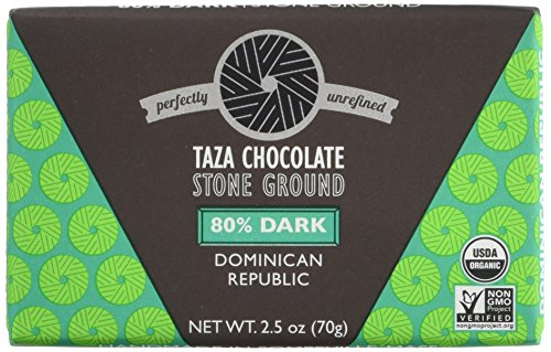 Stone Ground Organic Chocolate (Taza Chocolate Origin Bar, 80% Dark Stone Ground Organic, Dominican Republic 2.5 Ounce (Pack of 10))