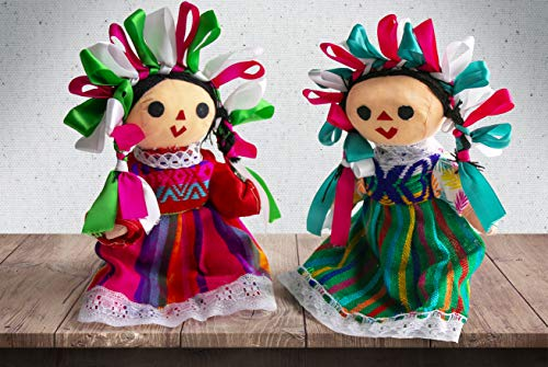 Threads West Authentic Handmade Mexican Rag Dolls Maria, Assorted Colors, 10 inches Tall (2-Pack)