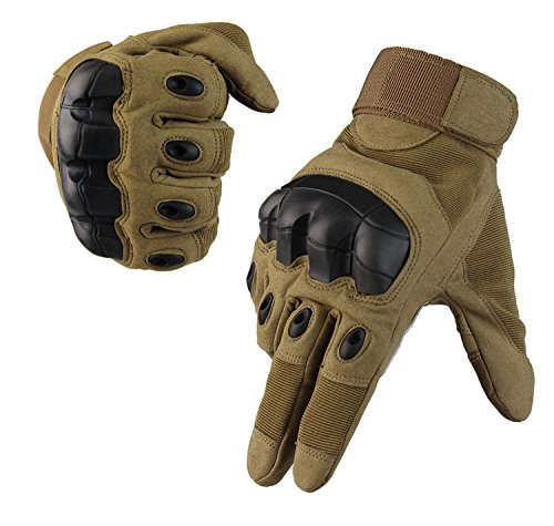 Fuyuanda Full Finger Outdoor Glove Touch Screen Men`s Tactical Cycling Hunting Climbing Sports Glove for Military Airsoft Paintball Pistol Riding Motorcycle Smart Phone Coyote (Glove Gun)