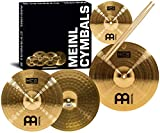 "Meinl Cymbal Set Box Pack with 13"" Hihats, 14"" Crash, Plus Free 10"" Splash, Sticks, Lessons – HCS Traditional Brass – Made in Germany, 2-Year Warranty (HCS1314-10S)"