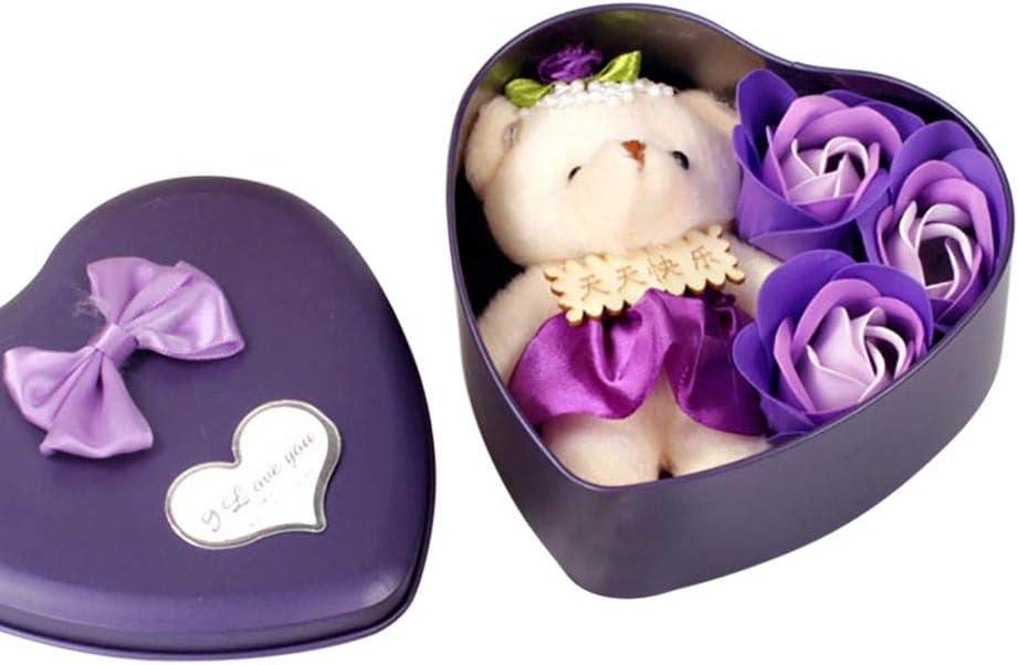 Pretty Comy 3Pcs Bo/îTe De Cadeau en Forme De Coeur Jolie avec des P/éTales De Fleurs De Rose Cadeau en Forme De Coeur avec Un Sac De Bain Ours