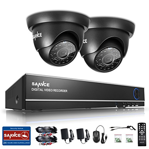 Surveillance Camera System, SANNCE 1.0 Megapixel HD CCTV Wired Home Security Camera System Live Video 8CH 1080N DVR Recorder Indoor Outdoor Weatherproof Night Vision Cameras with NO Hard Disk Drive by SANNCE