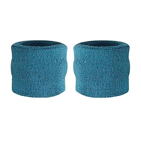 Suddora Kids Muñeca Sweatbands–Athletic algodón muñequeras de rizo para deportes (par), Red White Blue