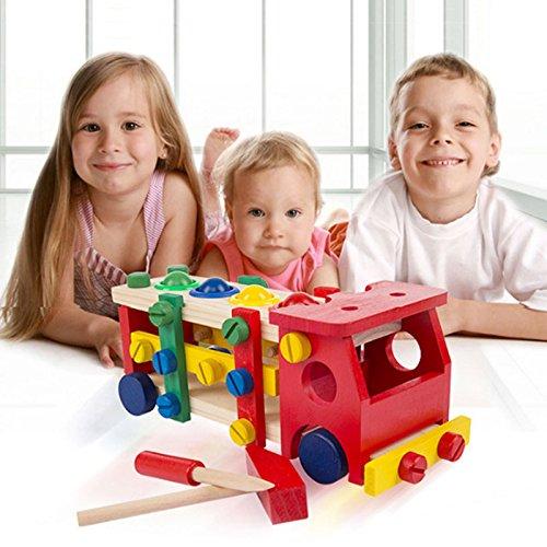 Outil de jouet en bois Véhicules Ensemble Démontage Construction Puzzle Car Toy avec outils Kit de charpenterie 48pc pour enfants