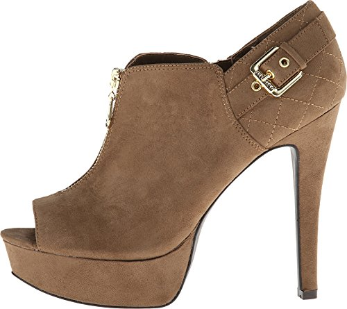 G by GUESS Women's Charmed 2 Taupe Suede PU Platform 8.5 M