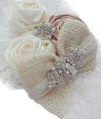 DANMY Baby Diamond Tiara Children Rose Flower Bud Silk Net Yarn Headband Bow (Beige)