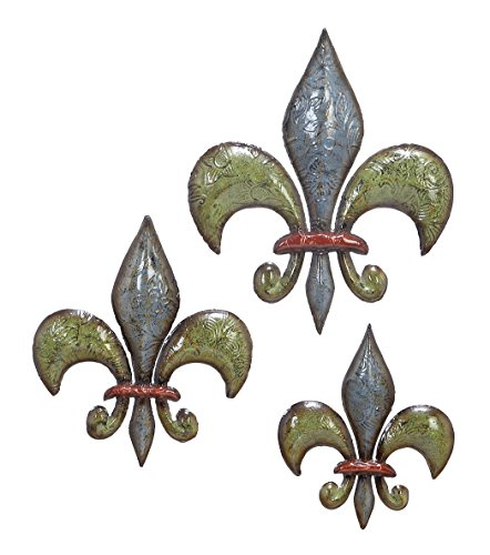 Deco 79 Metal Fleur De Lis, 15 by 12 by 10-Inch, Set of 3