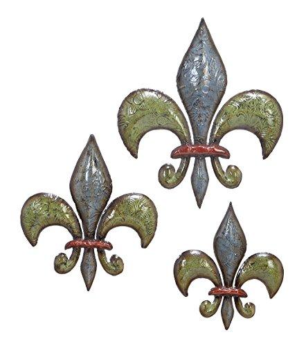 Deco 79 Metal Fleur De Lis, 15 by 12 by 10-Inch, Set of ()
