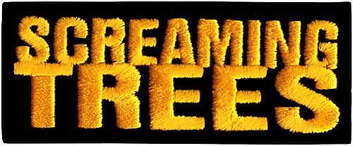 Screaming Trees - Yellow & Black Rectangle Logo - Embroidered Iron On or Sew On - Yellow Logo Rectangle