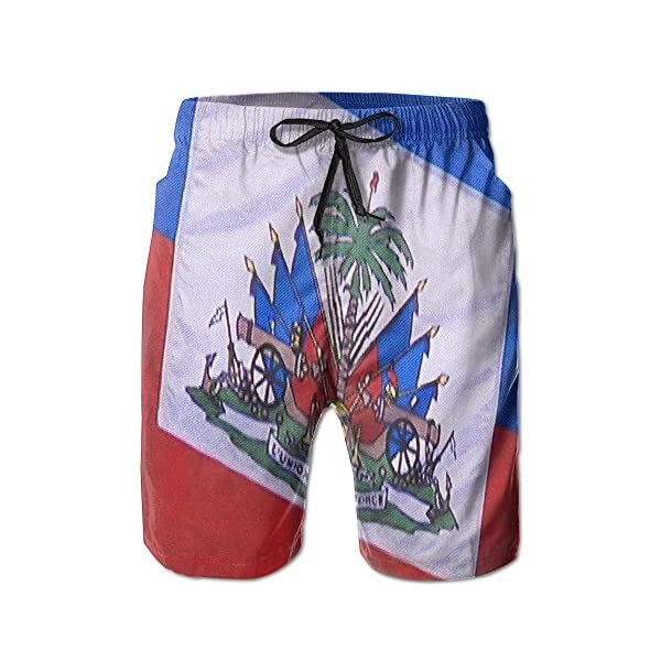 Coat of Arms of Haiti Mens Summer Boardshorts Casual Swim Trunks Boardshort