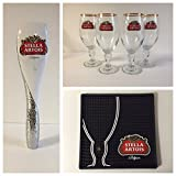 Stella Artois Draft Kit - 4 33cl Glasses - 1 Tap Handle - 1 Black Bar Mat