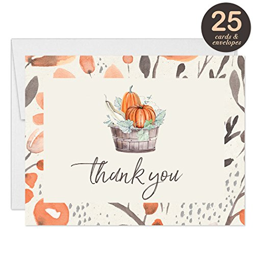 Thanksgiving Feast Thank You Cards with Envelopes ( Pack of 25 ) Folded Thank You Notes Fall Basket Harvest Pumpkins Thanks Gracias for Dinner See Matching Thanksgiving Meal Invitations Great Value