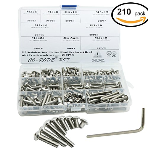 210PCS M5 304 Stainless Steel Button Hex Socket Head Cap Screws Bolts Nuts Assortment Kit