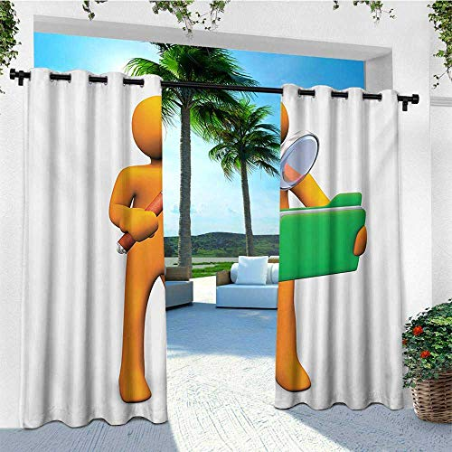 - leinuoyi Green and Orange, Outdoor Patio Curtains, Orange Man with Magnifying Glass Searhcing a Green Folder, Outdoor Curtain Panels for Patio Waterproof W84 x L108 Inch Orange Fern Green Brown
