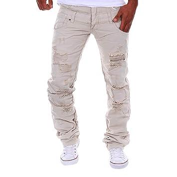 LuckyGirls Straight Series Hombre Pantalones Vaqueros Rotos ...