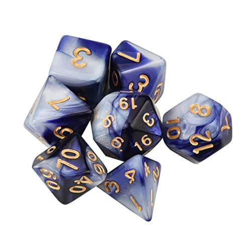 - SUJING 7pcs/Set Multi-Color Dice Set, TRPG Game Dungeons & Dragons Polyhedral D4-D20 Multi Sided Acrylic Dice (K)