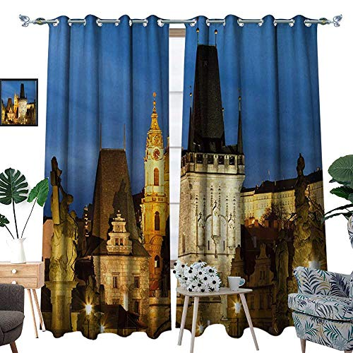 - RenteriaDecor European Thermal Insulating Blackout Curtain Charles Bridge Tower Dusk Czech Repuclic Prague Architecture Scenes from Europe Patterned Drape for Glass Door W108 x L84 Multicolor