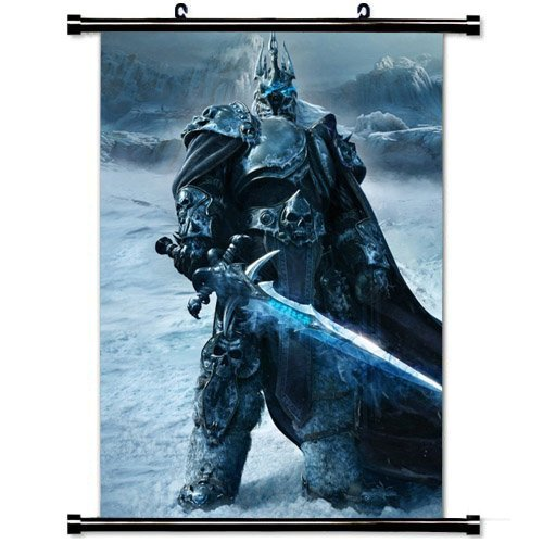 Modern style Home Decor Custom Poster with Game Warrior World Of Warcraft Wrath Of The Lich King Wall Scroll Poster Fabric Painting 23.6 X 35.4 Inch (60cm X 90 cm)