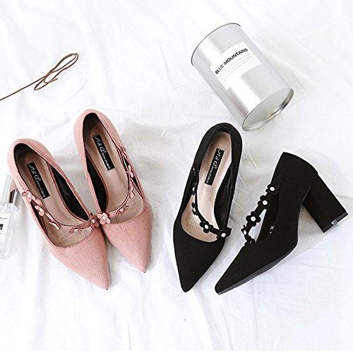 de punta luz satén la solo la boquilla tacón solo zapatos otoño con la zapatos bold zapatos boquilla punta nuevo La de de de alto de la black la ZHZNVX luz de negro tacón de TA5qITn