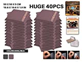 Ace Punch 40 Pack BURGUNDY Self Adhesive Flat Bevel Acoustic Foam Panel DIY Design Studio Soundproofing Wall Tiles Sound Insulation with Free Mounting Tabs 19.6'' x 19.6'' x 1.9'' AP1055