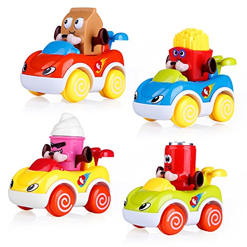 VATOS Car Toys for Baby 1-2 Year Old Boys & Girls, Cars for Toddlers Cartoon Push and Go Car, Toddler Toy Cars Set of 4, Toy Cars for 1, 2 Years Old (Best Toy Cars For Toddlers)