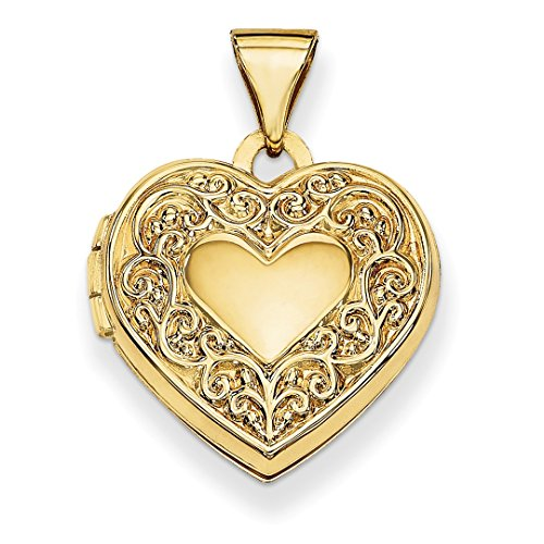 ICE CARATS 14k Yellow Gold Scroll Heart Photo Pendant Charm Locket Chain Necklace That Holds Pictures Fine Jewelry Gift Set For Women Heart