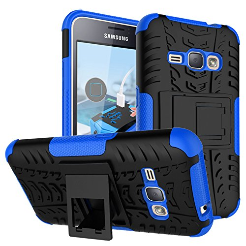 Samsung Galaxy Amp 2 Case, Nicelin Hard PC Material Cover and Silicone Inner Holder 2 in 1 Stand Case for Samsung Galaxy Amp 2 (Cricket) / SM-J120AZ [NOT FOR Samsung Galaxy Amp Prime ] (Blue) - Samsung A157 Case