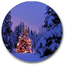 Christmas Tree Scenic Nature Round Mousepad Mouse Pad Great Gift Idea