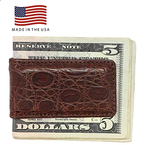 Brown Matte Genuine Crocodile Money Clip – Magnetic - American Factory Direct - Strong Shielded Magnets - Money Holder – Gifts for Him - Made in USA by Real Leather -