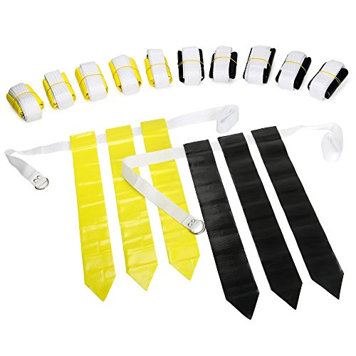 WYZworks Flag Football Set - 12 Belts, 18 Black Flags & 18 Yellow Flags