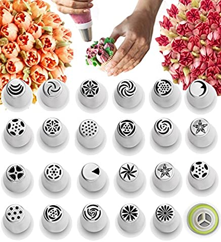 Russian Piping Tips - Cake Decorating Supplies - 39 Baking Supplies Set - 23 Icing Nozzles - 15 Pastry Disposable Bags & Coupler - Extra Large Decoration Kit - Best Kitchen (Jumbo Crystal Rings)
