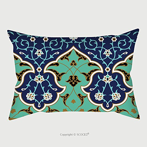 Custom Satin Pillowcase Protector Arabic Floral Seamless Border Traditional Islamic Design Mosque Decoration Element 445438102 Pillow Case Covers Decorative by chaoran