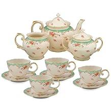 Gracie China by Coastline Imports Vintage Rose Porcelain 11-Piece Tea Set, Green