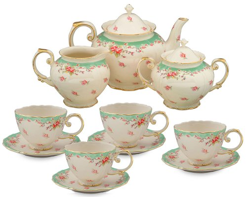 Gracie China by Coastline Imports Vintage Green Rose Porcelain 11-Piece Tea Set, Green ()