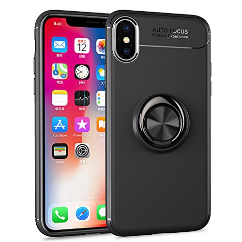 HONTECH Compatible iPhone Xs Max 6.5 2018 Case, Ultra Thin Soft TPU 360 Rotating Magnetic Car Mount Kickstand Holder Cover, Black-Black