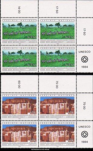 United Nations Vienna Scott 42-43 3.50S Serengeti Park Tanzania and 15S Ancient City of Shiban Peoples Democratic Representative of Yemen Inscription Blocks of 4. Mint never - Vienna Park City