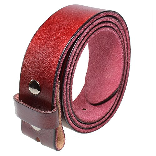 Gelante Genuine Full Grain Leather Belt Strap without Belt Buckle G2016-Wine-M (Leather Side Snap)