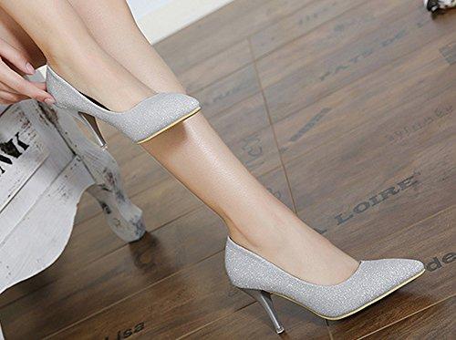Aisun Paillettes Femme Brillant Argent Stiletto On Slip Escarpins rFrU4B