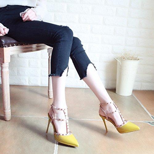 tacchi scarpe yellow alti estate tenaglie di alla Onorevoli lacca Europeo moda di YMFIE in stile rivetti xpFTt7wqg