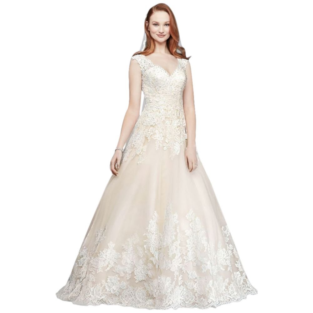 e2e03a961 David's Bridal Scalloped Lace and Tulle Petite Wedding Dress Style 7WG3850  at Amazon Women's Clothing store: